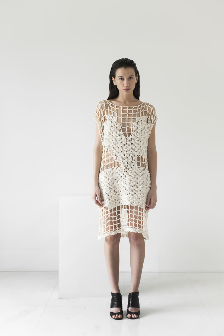 Net dress, cotton ribbon, handmade, crochet, knitwear, tejidos, fibras naturales, Net SS2016, Maydi