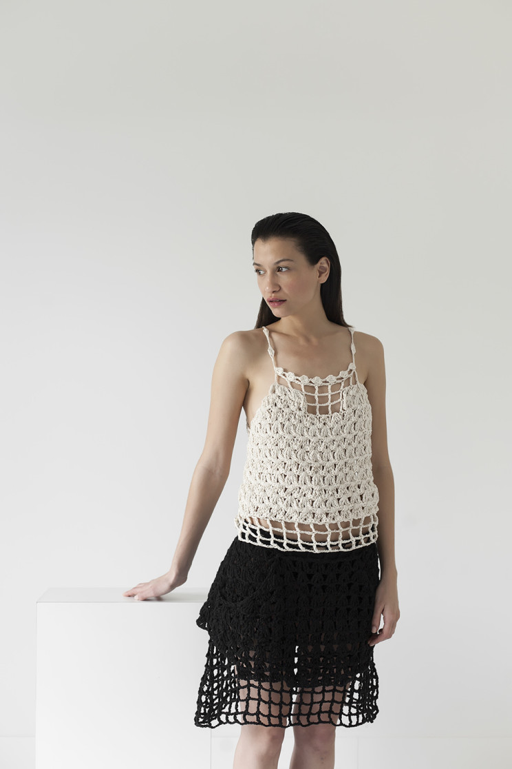 Link top and scene skirt, cotton ribbon, handmade, crochet, knitwear, tejidos, fibras naturales, Net SS2016, Maydi